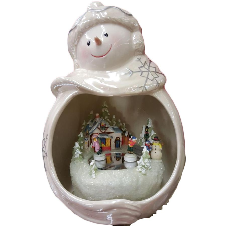 Appletree Design Snowman w/ Kids Skating Figures