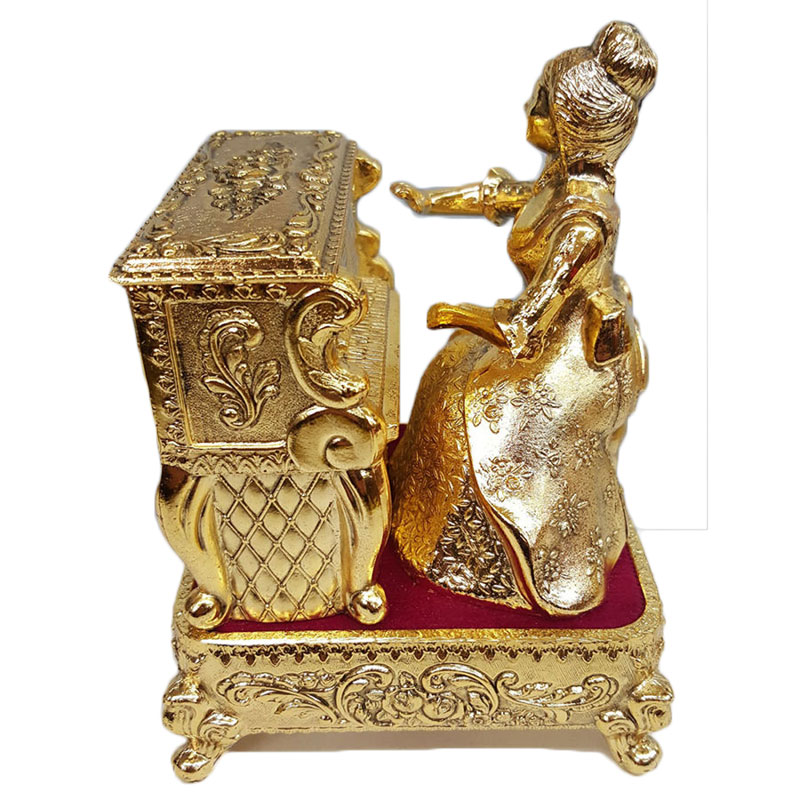 Pewter Animated Lady At The Piano Musical Jewelry Box