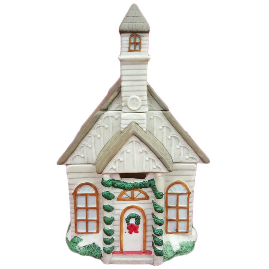 Porcelain Electric Holiday Christmas Church Potpourri Pot