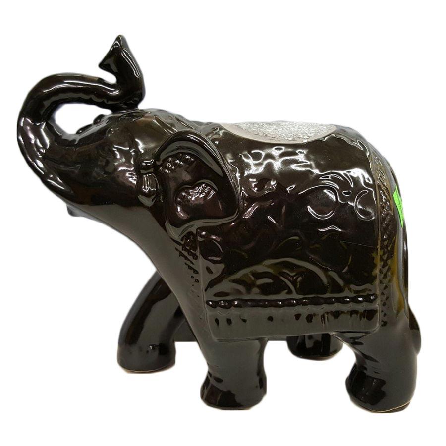 Crushed Glass Walking Elephant (Black)