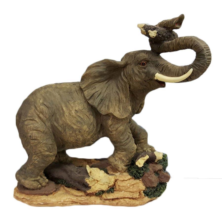 Porcelain Elephant Holding Log