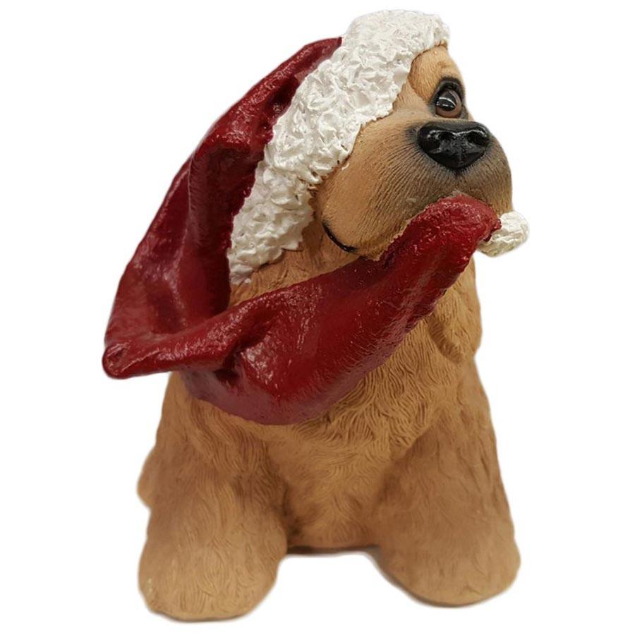 Porcelain Puppy Wearing Santa Hat Coin Piggy Bank