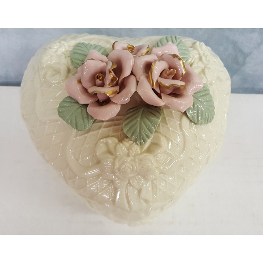 Crown Accents Heart Covered Box Gold Trim Pink Roses