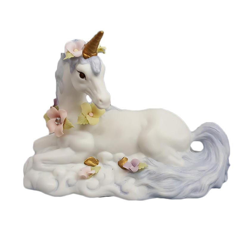 Cosmos Gifts Sitting Unicorn with Flowers Figurine