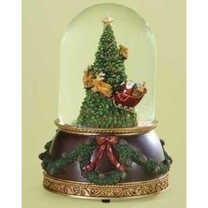Traditional Musical Rotating Santa Claus Christmas Tree Snow Globe Glitterdome
