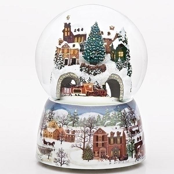 """6.75"""" Musical Winter Village Scene with Revolving Train Christmas Glitterdome"""