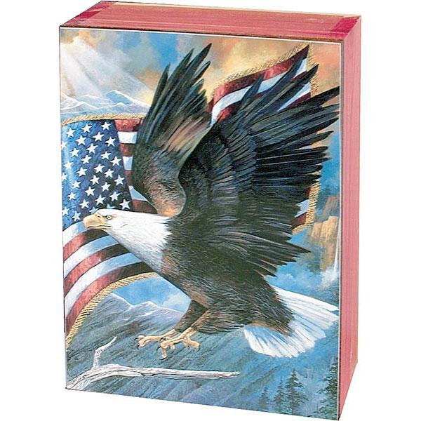 Bald Eagle Keepsake Jewelry Wood Cedar Box