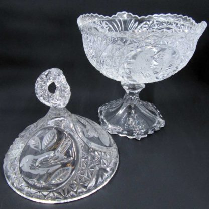 Footed Candy Dish & Lid The Byrdes Collection by HOFBAUER
