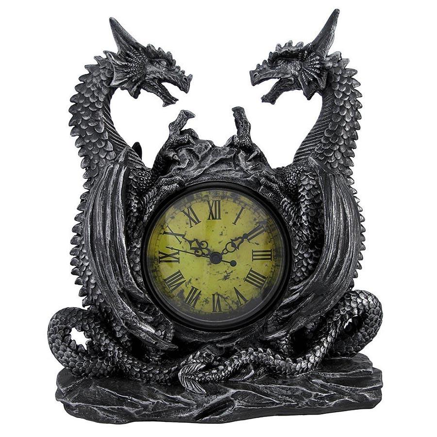 Twin Evil Dragons Antiqued Mantel Clock