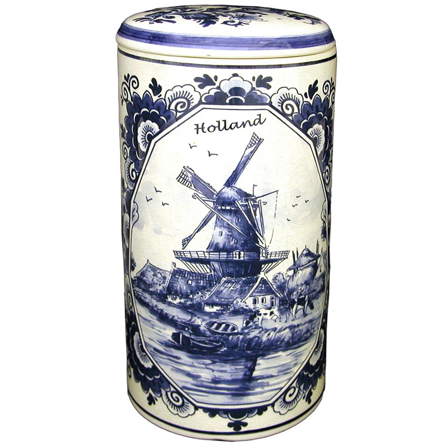 """Delft Blue Windmill Rusk Canister 9"""""""