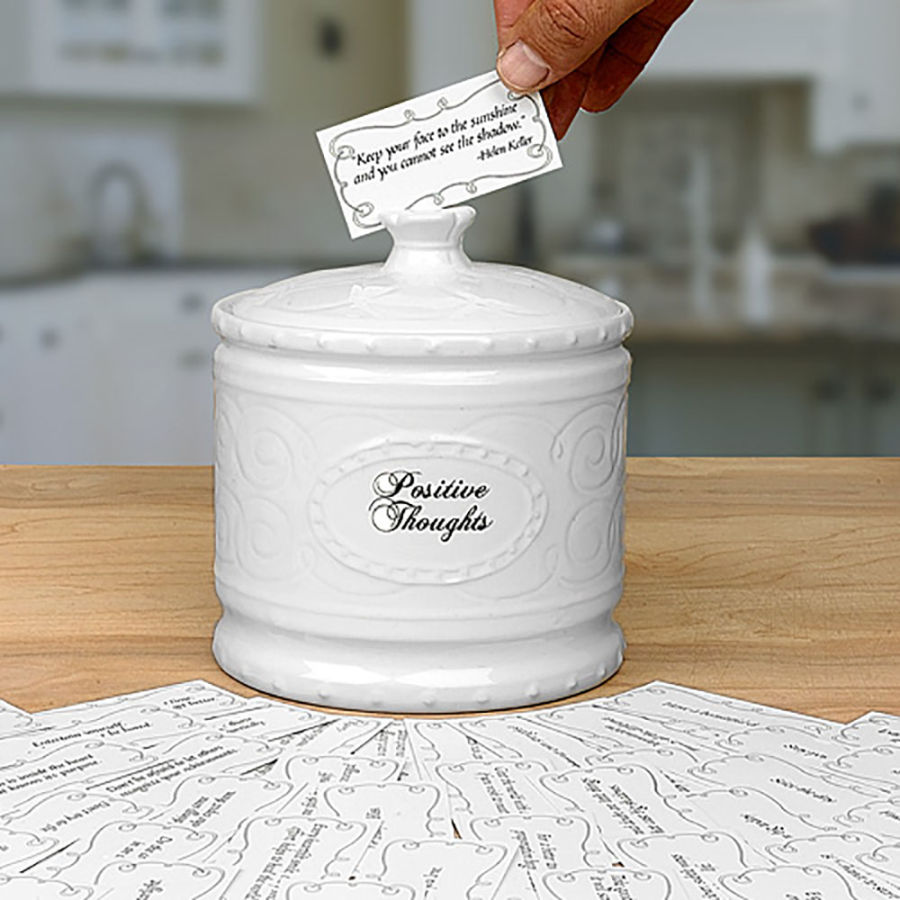 Young's Ceramic Positive Thought Jar with 365 Positive Thoughts