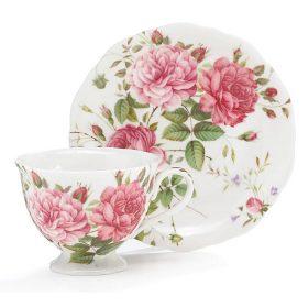 Burton and Burton Saddlebrook Pink Rose Porcelain Teacup & Saucer