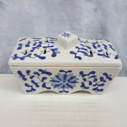 Delft Blue Incense Holder Box With Flowers Design