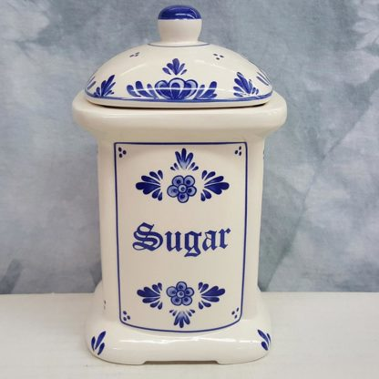 Blue and White Floral Delft Sugar Canister