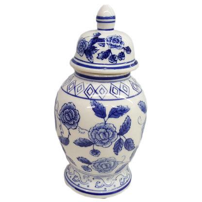 Delft Blue Ginger Jar with Lid Rose Design by Ganz