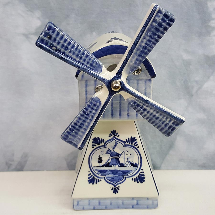 Blue and White Delft Musical Windmill