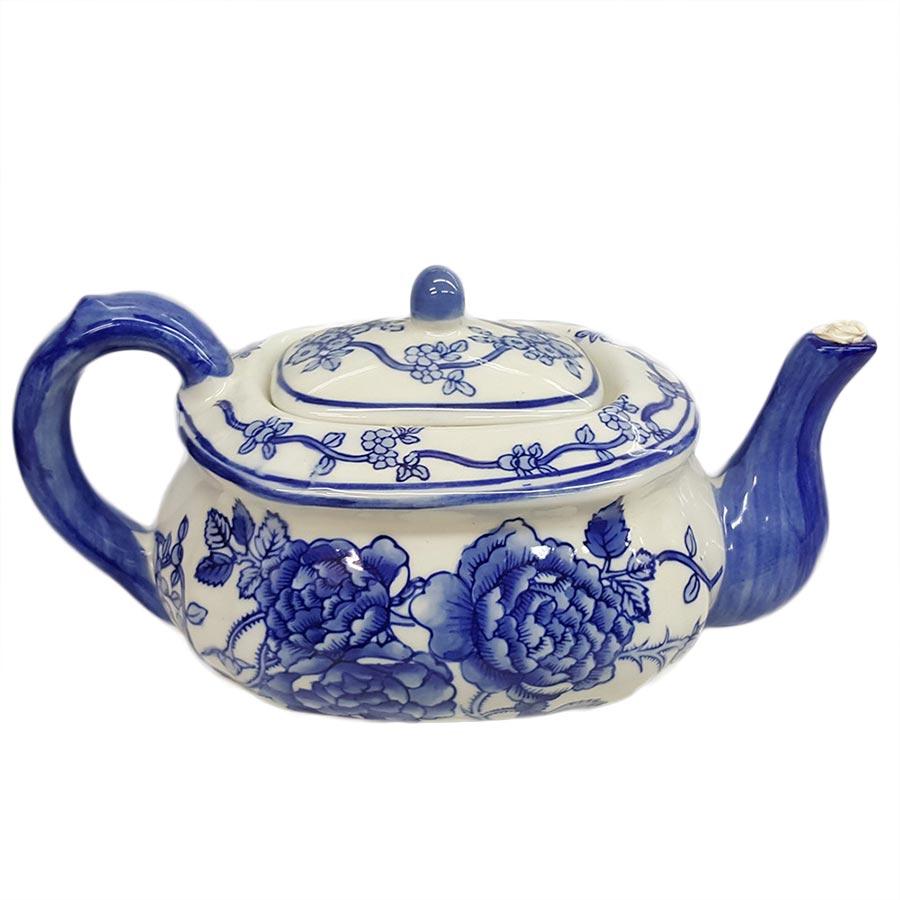 Delft Blue Teapot with Flowers Design
