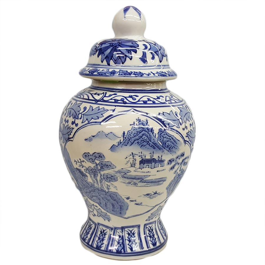 Delft Blue Ginger Jar with Lid Scenic View Design