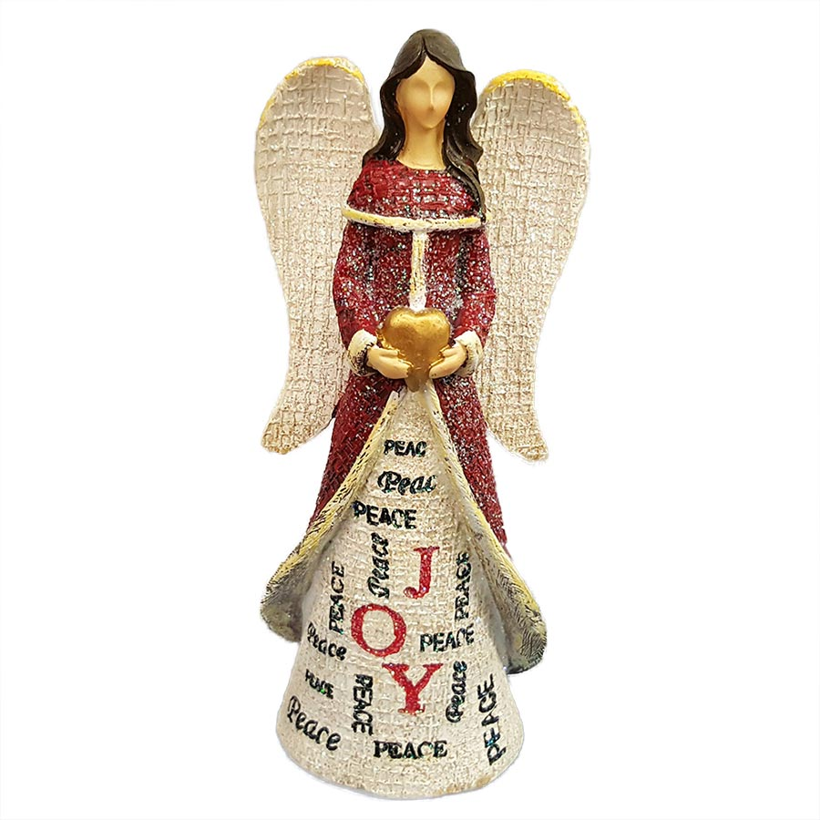 Tii Collections Large Resin Angel Figurine Holding Heart