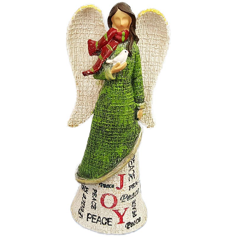 Tii Collections Large Resin Angel Figurine Holding Dove