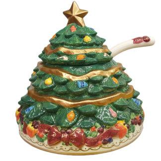 Bella Casa Large Ceramic Christmas Tree Punch Bowl