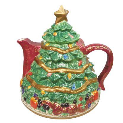 Vintage Bella Casa Large Ceramic Christmas Tree Teapot