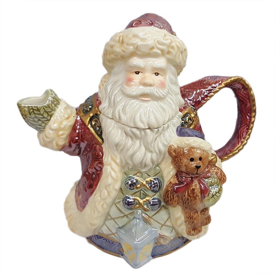 Vintage Bella Casa Large Ceramic Santa Teapot Elegant