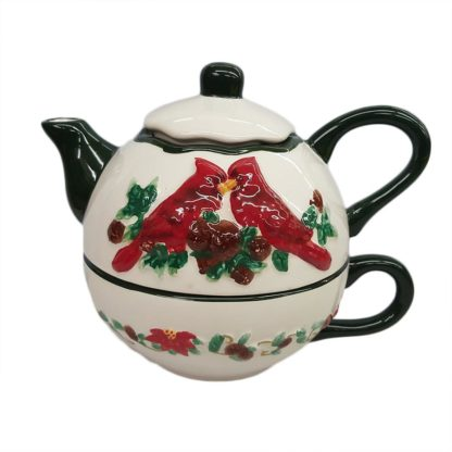 Christmas Cardinals Teapot Service For One