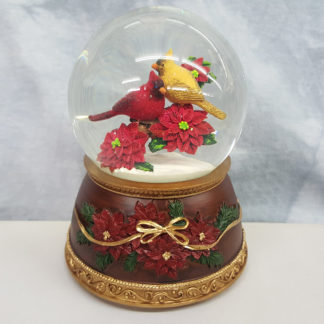 Roman Musical Red and Yellow Cardinal Bird on Poinsettias Christmas Glitterdome