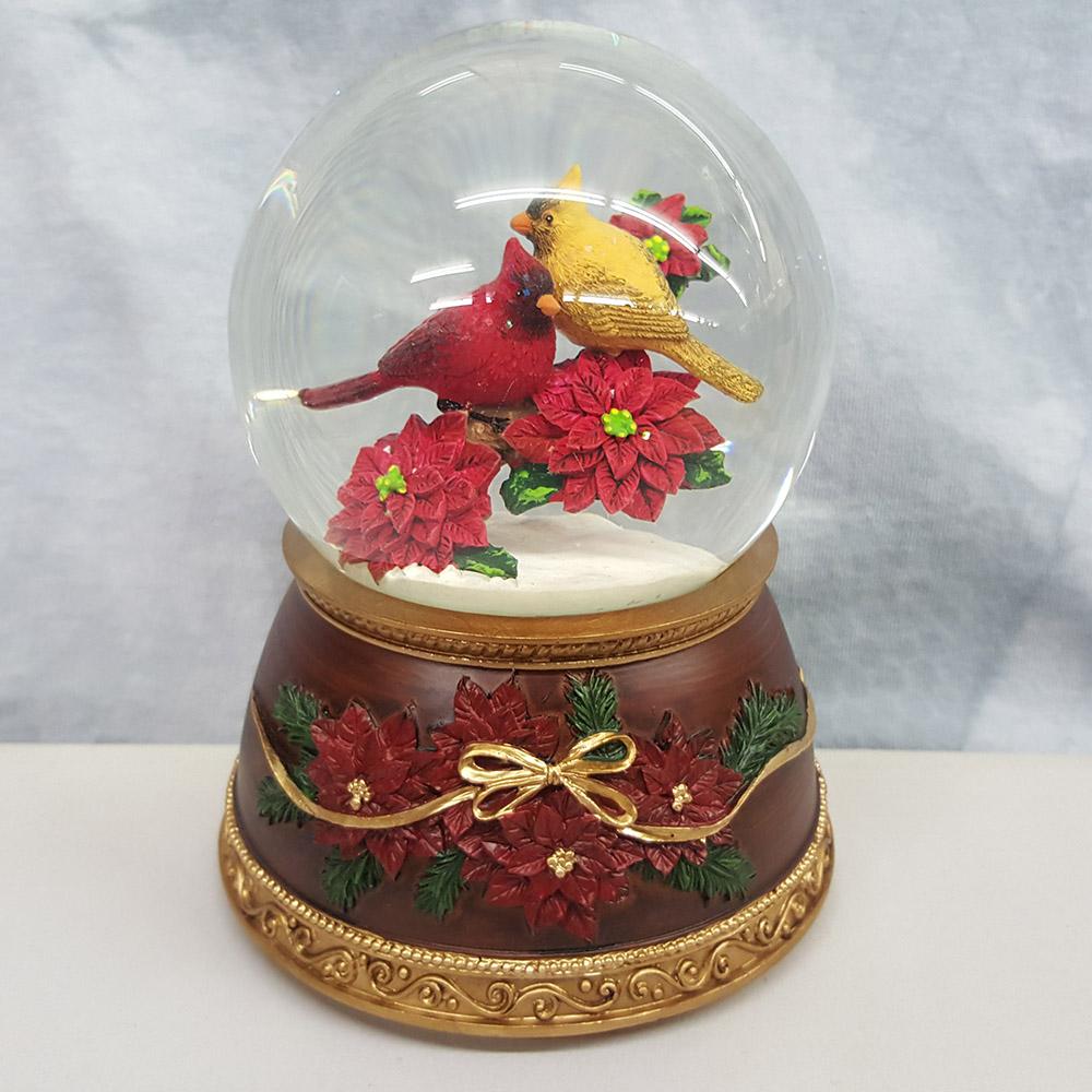 Roman Musical Red and Yellow Cardinal Bird on Poinsettias Christmas Glitterdome