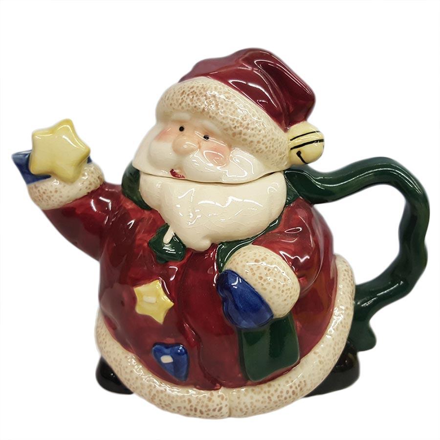 Vintage Bella Casa Large Ceramic Santa Teapot