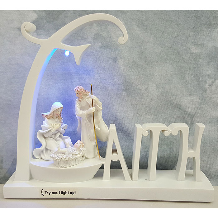Light Up Faith Nativity White