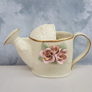 Crown Accents Pitcher Watering Can Gold Trim Pink Roses