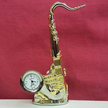 Sanis Enterprises Saxophone Desk Clock, Gold and Silver