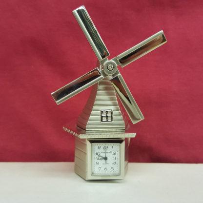 Sanis Enterprises Silver Windmill Desk Clock