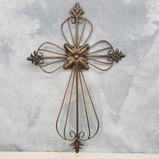Iron Metal Wall Cross Bronze Color