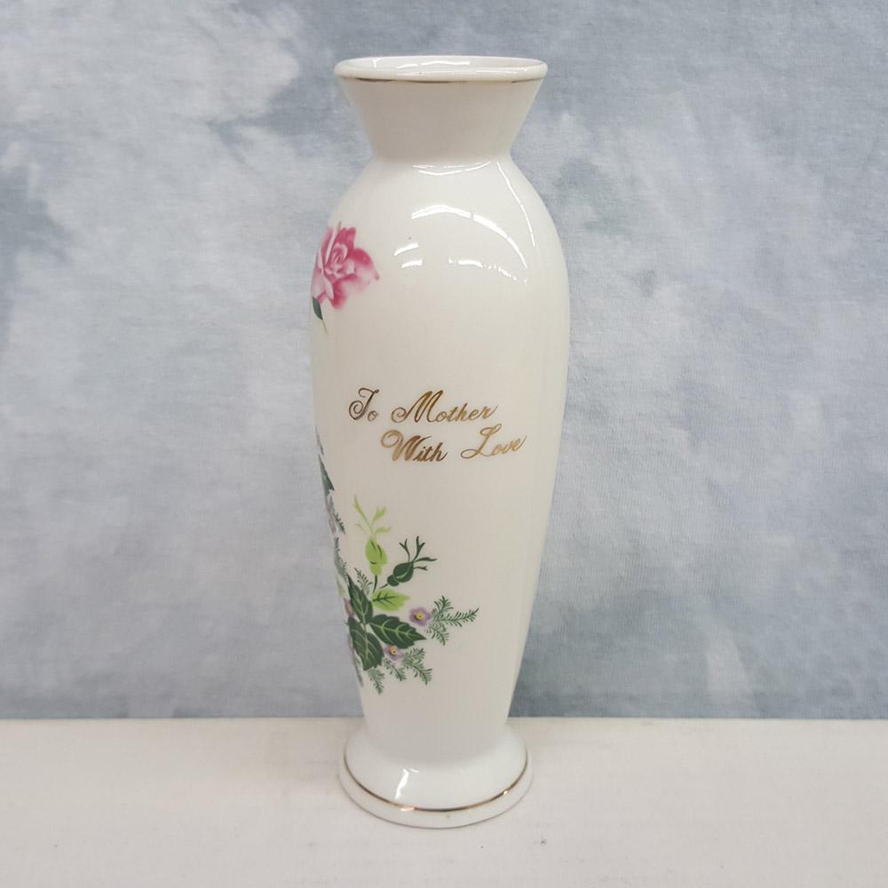 Norcrest White Ceramic Vase Rose Design