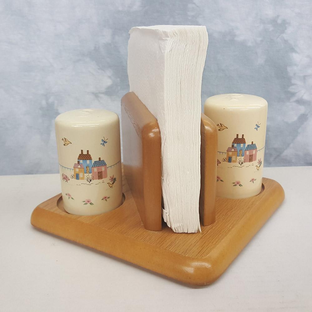 Wood Napkin Holder with Porcelain Salt and Pepper Shakers