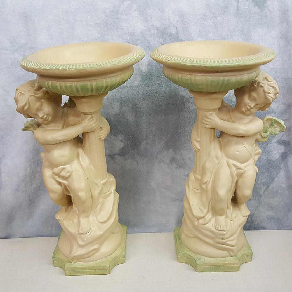 Cherub Angel Pillar Candle Holder Set