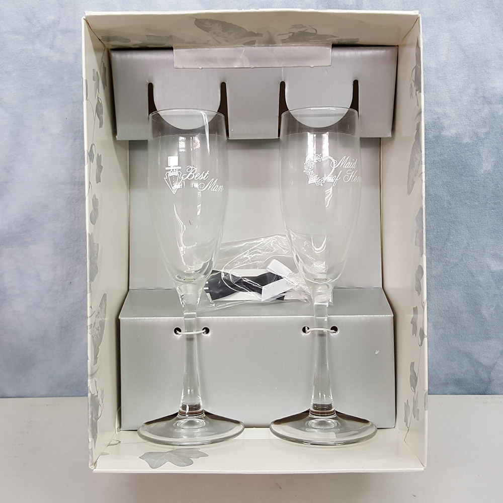 Hortense B Hewitt Best Man and Maid Of Honor Champagne Flute Set