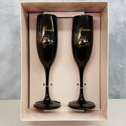 Hortense B Hewitt Bride and Groom Champagne Flutes Set Black