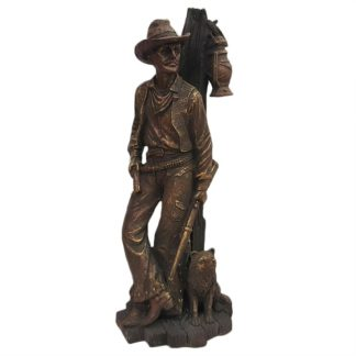 10.5H Bronzed Leaning Cowboy