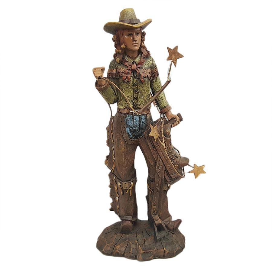 Ceramic Cowgirl Holding Saddle