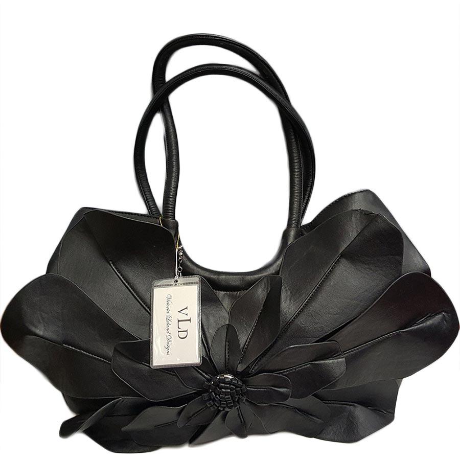 VLD Black Handbag with Flower