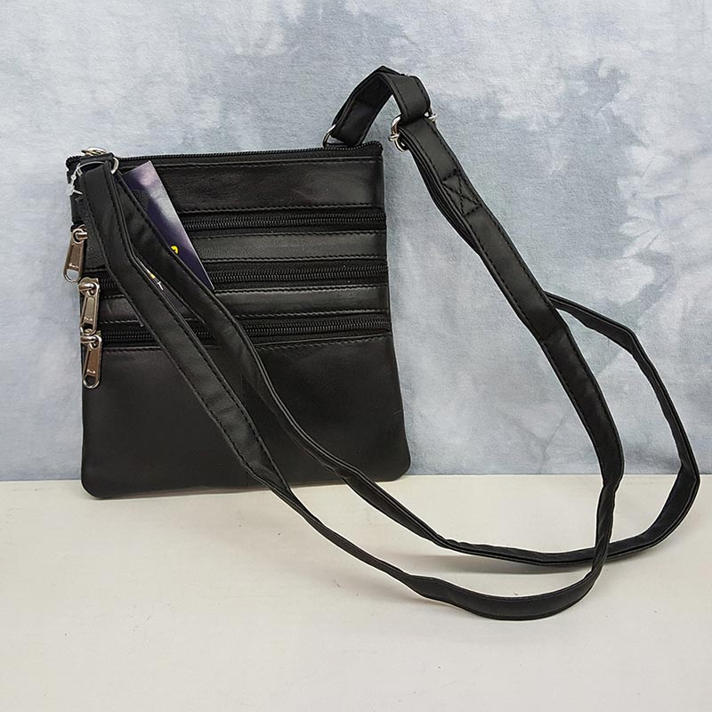 Parade Street Products Leather Crossover Bag Black