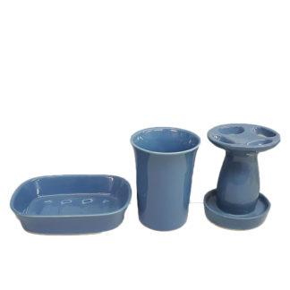 Blue Porcelain Bathroom Accessories 3 Pc Set