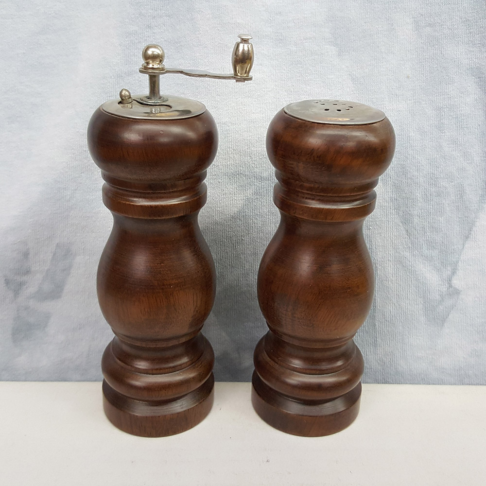 Dark Brown Wood Salt Shaker and Pepper Mill Set