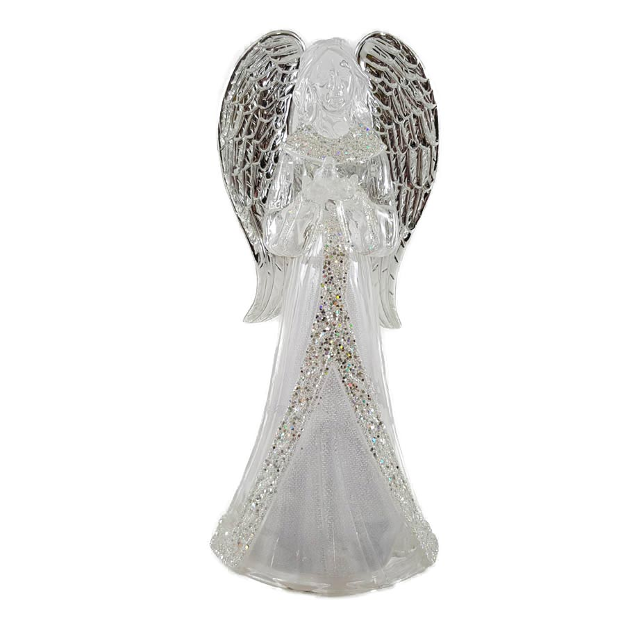 Battery Operated LED Lighted Inspirational Angel Holding Bird Christmas Figure