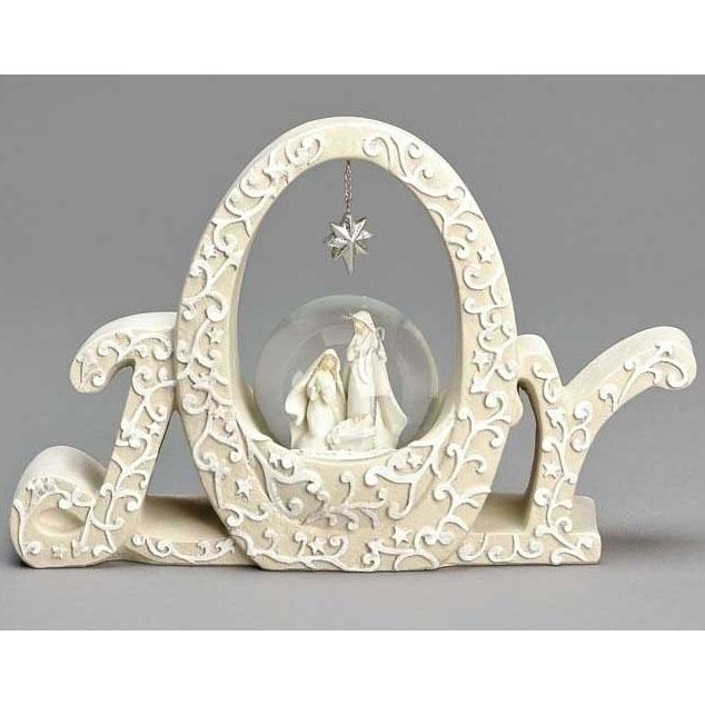 Joy Holy Family With Glitter Dome Nativity Set by Roman