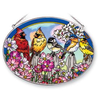 Large Oval On The Fence Birds Suncatcher